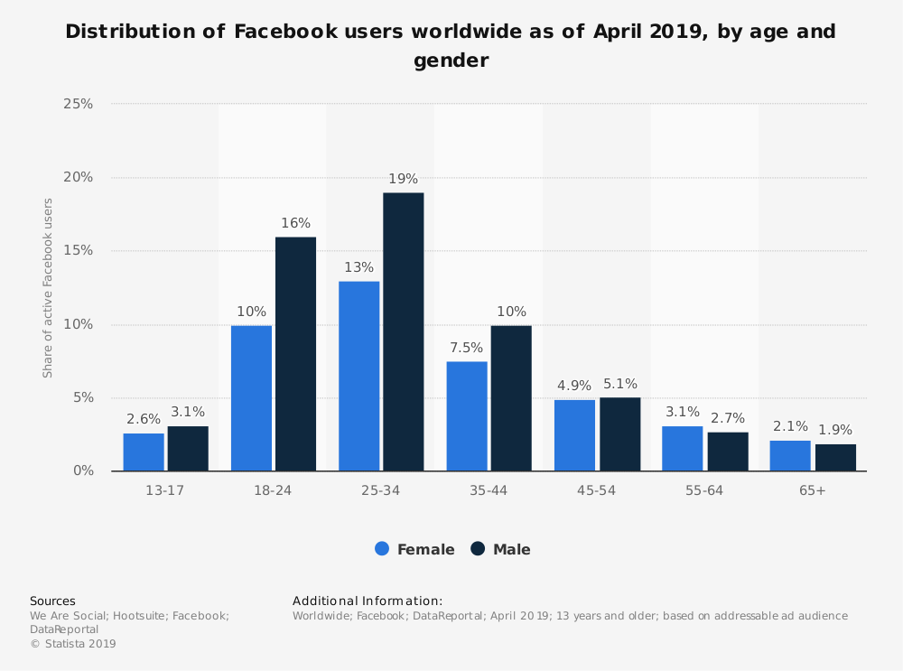 FB breakdown into gender and age categories